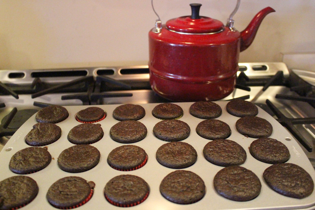 Chocolate Peppermint Muffins out of the oven