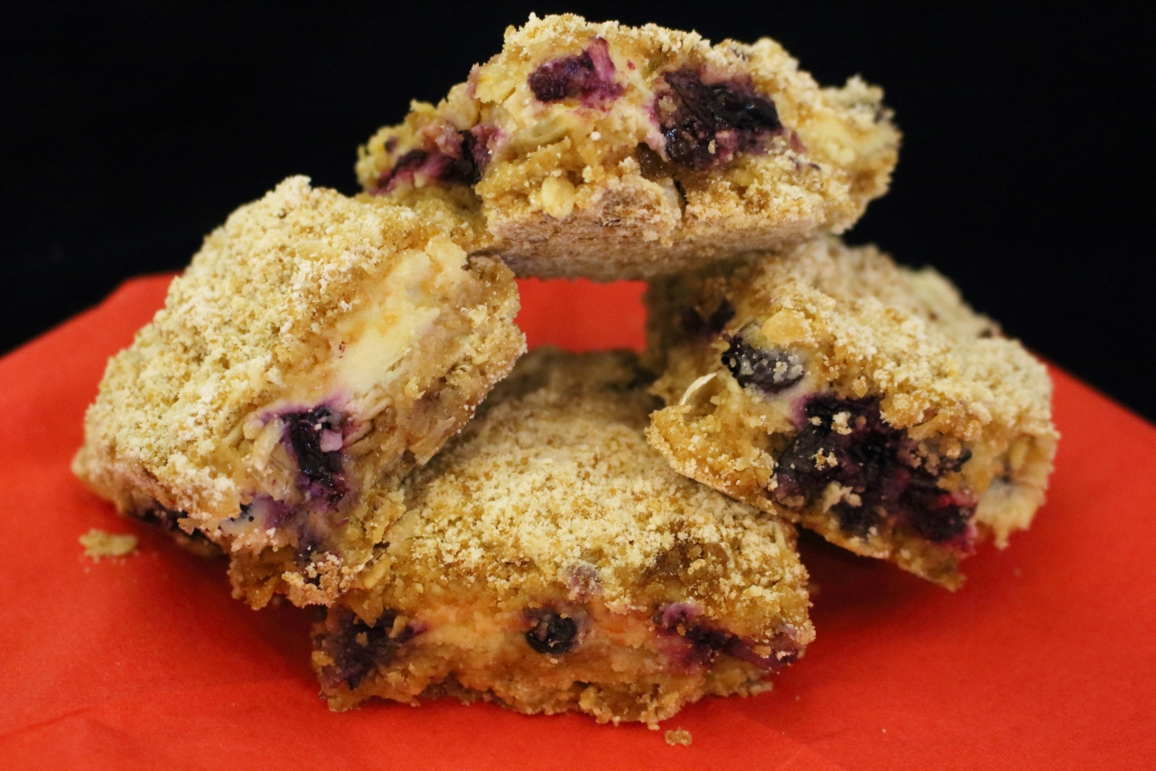 Blueberry Streusel Bars with Lemon Cream Filling - stacked for serving