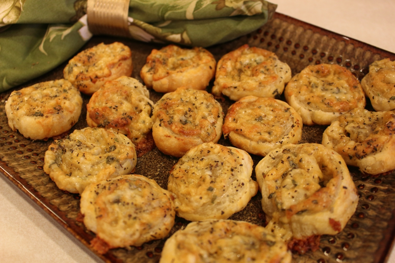 Gruyere Cheese and Parmigiano Reggiano Pinwheels - plated for serving 3