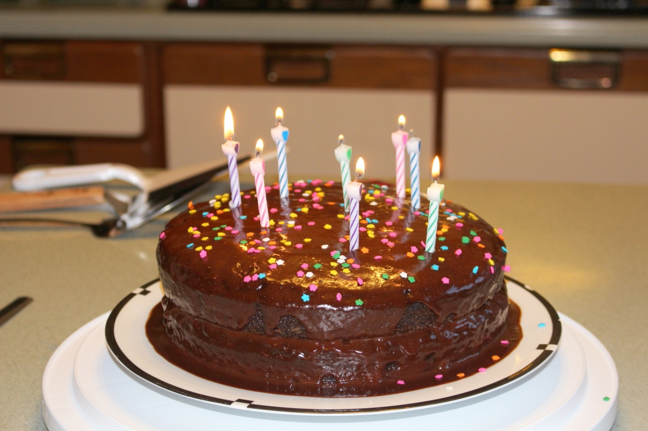 Chocolate Cake with Chocolate Peanutbutter Icing with candles