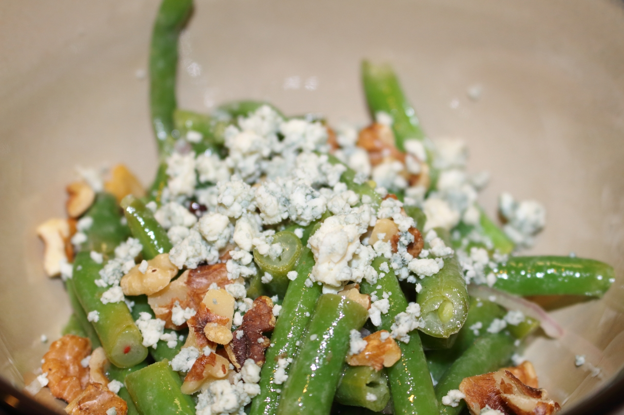 Green Beans with Walnuts Cranberries and Blue Cheese Closeup