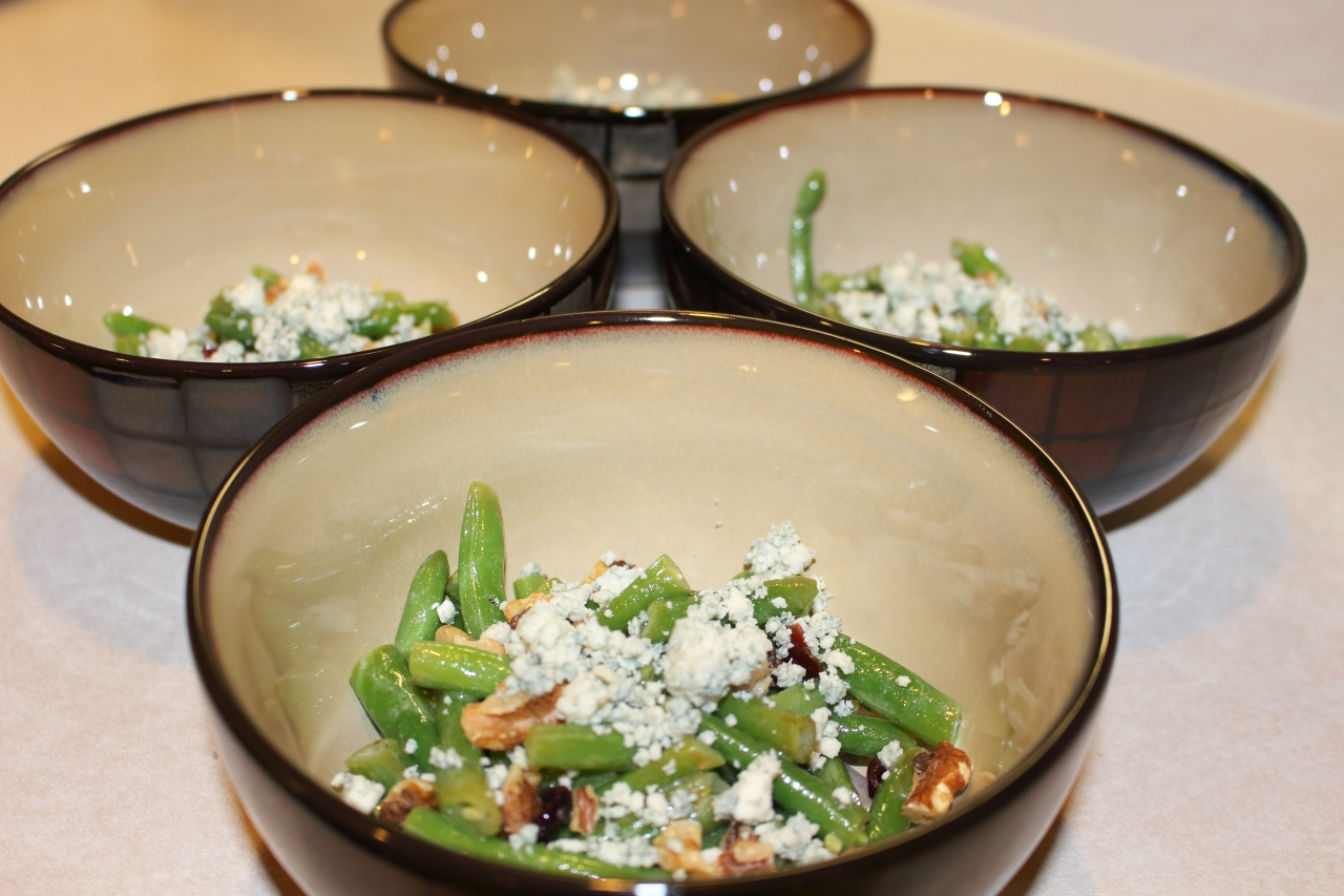 Green Beans with Walnuts Cranberries and Blue Cheese