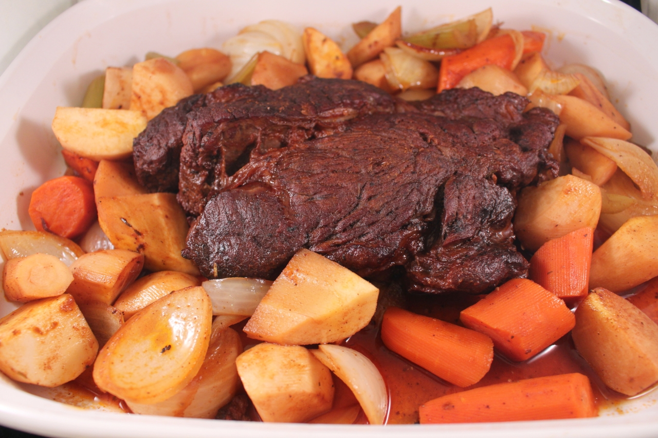 Slow Cooked Chuck Roast in white platter 2