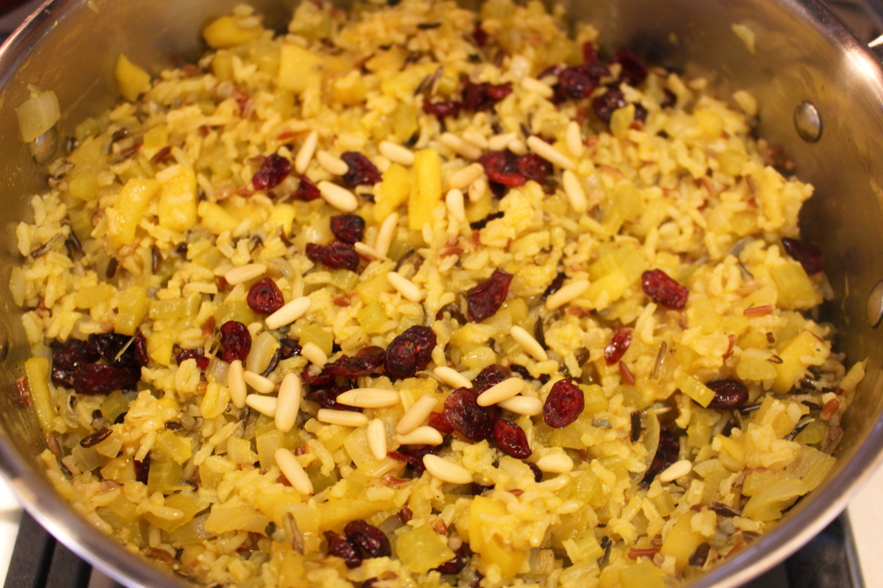 Wild Rice Cranberry Dressing with Pine Nuts on the stove top 2