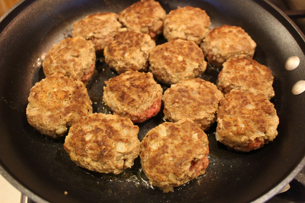 Sweet and Sour Meatballs - meatballs browning on stovetop