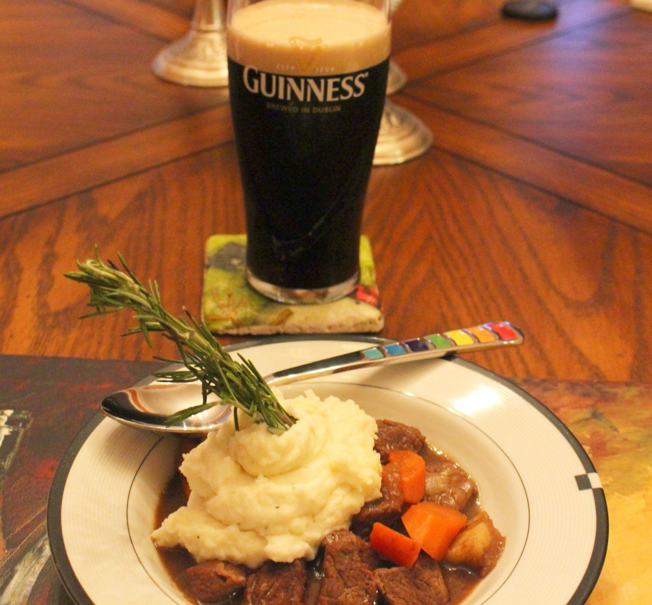 Guinness Irish Beef Stew on the table