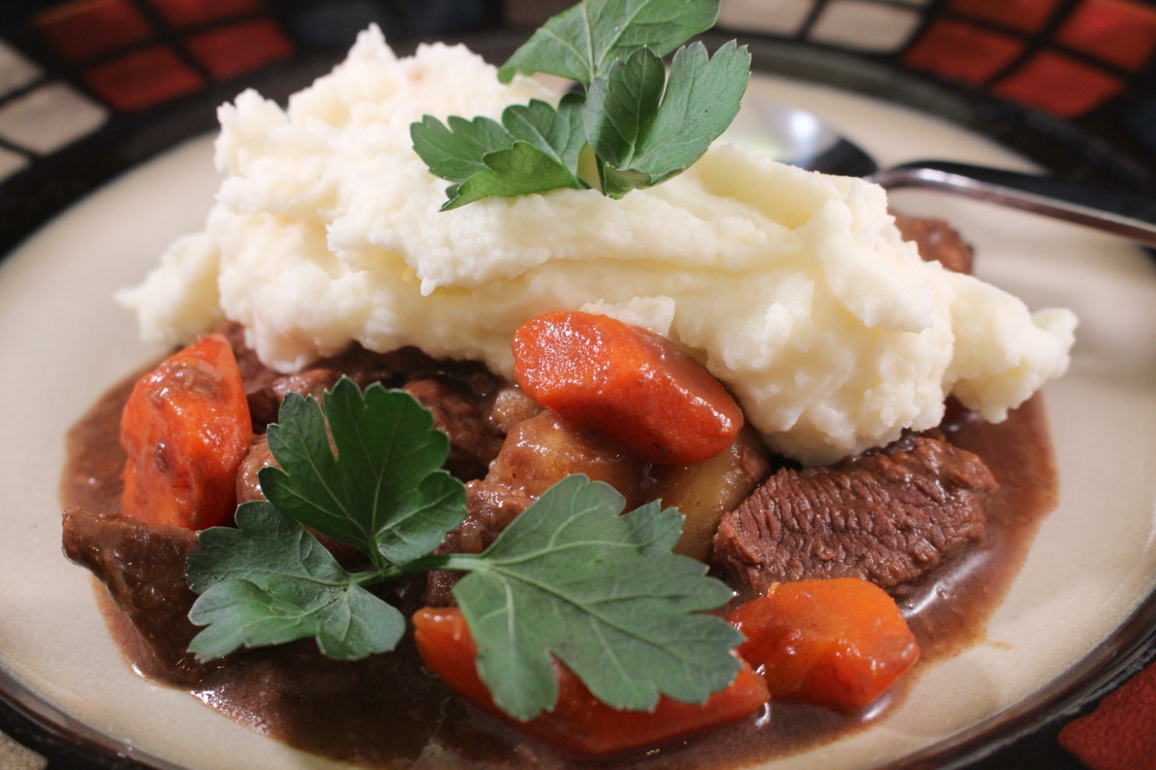 Guinness Irish Beef Stew plated side view